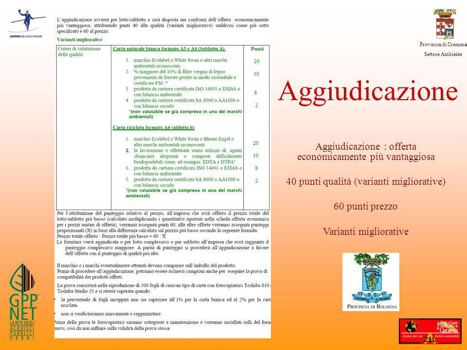 Provincia di Cremona Settore Ambiente Aggiudicazione Aggiudicazione : offerta economicamente più vantaggiosa 40 punti qualità (varianti migliorative) 60 punti prezzo Varianti migliorative