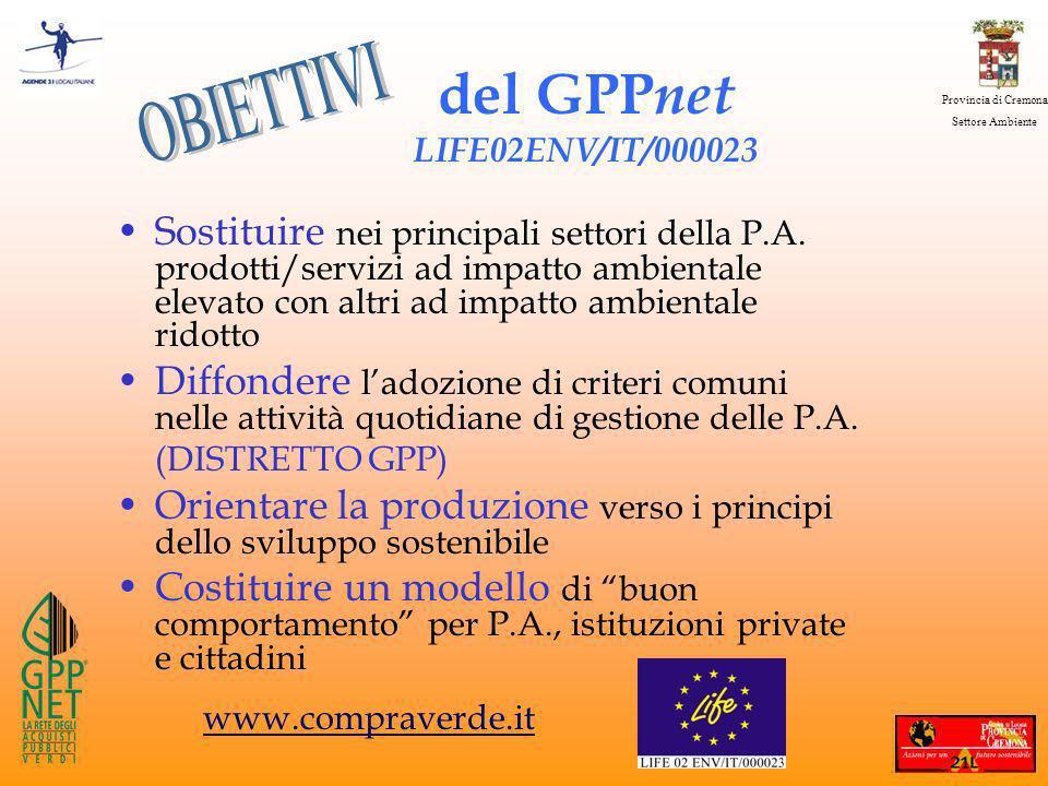 Provincia di Cremona Settore Ambiente del GPP net LIFE02ENV/IT/000023 Sostituire nei principali settori della P.A.