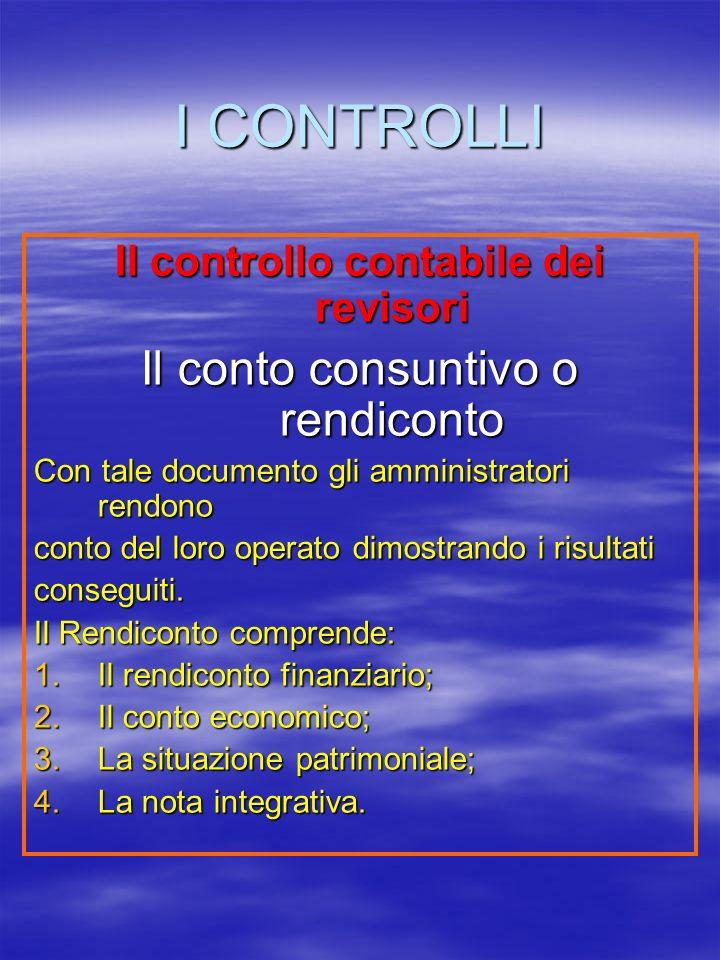 I CONTROLLI Il controllo contabile dei revisori Il conto consuntivo o rendiconto Con tale documento gli amministratori rendono conto del loro operato dimostrando i risultati conseguiti.