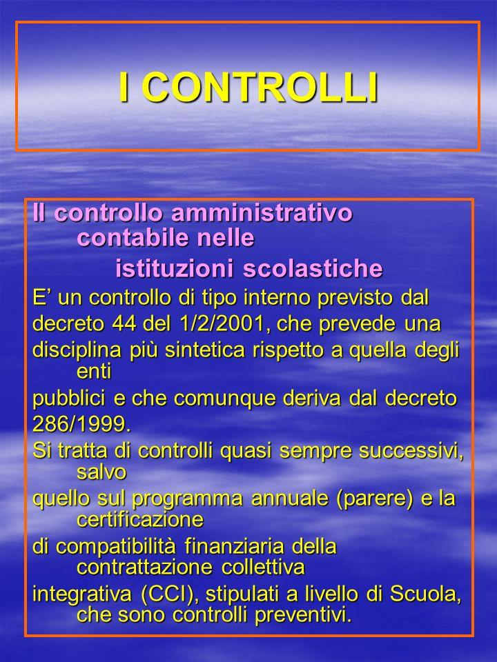 I CONTROLLI Il controllo amministrativo contabile nelle istituzioni scolastiche E un controllo di tipo interno previsto dal decreto 44 del 1/2/2001, che prevede una disciplina più sintetica rispetto a quella degli enti pubblici e che comunque deriva dal decreto 286/1999.