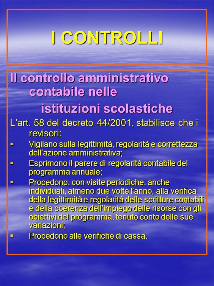 I CONTROLLI Il controllo amministrativo contabile nelle istituzioni scolastiche Lart.