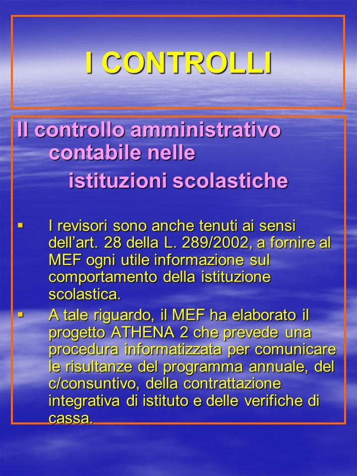 I CONTROLLI Il controllo amministrativo contabile nelle istituzioni scolastiche I revisori sono anche tenuti ai sensi dellart.