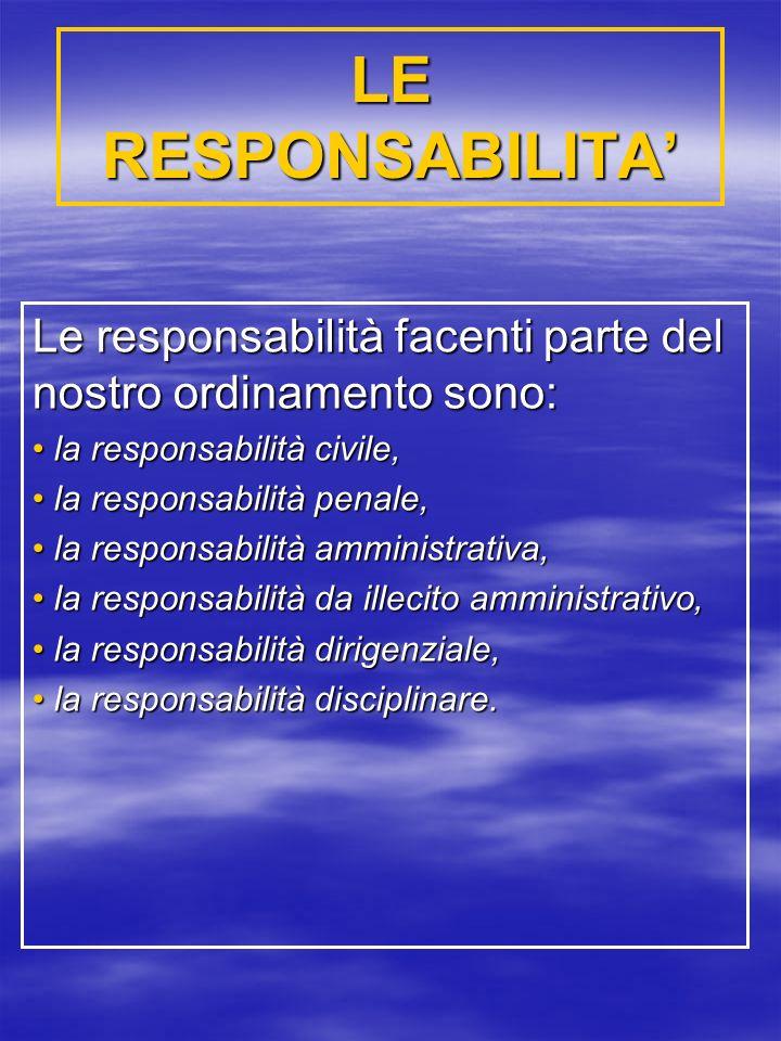 LE RESPONSABILITA Le responsabilità facenti parte del nostro ordinamento sono: la responsabilità civile, la responsabilità civile, la responsabilità penale, la responsabilità penale, la responsabilità amministrativa, la responsabilità amministrativa, la responsabilità da illecito amministrativo, la responsabilità da illecito amministrativo, la responsabilità dirigenziale, la responsabilità dirigenziale, la responsabilità disciplinare.
