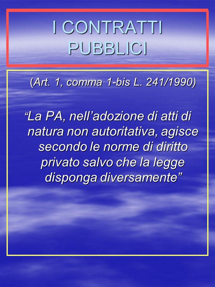 I CONTRATTI PUBBLICI (Art.1, comma 1-bis L.
