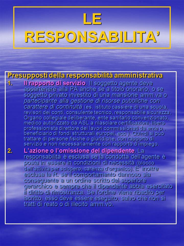 LE RESPONSABILITA Presupposti della responsabilità amministrativa 1.Il rapporto di servizio.