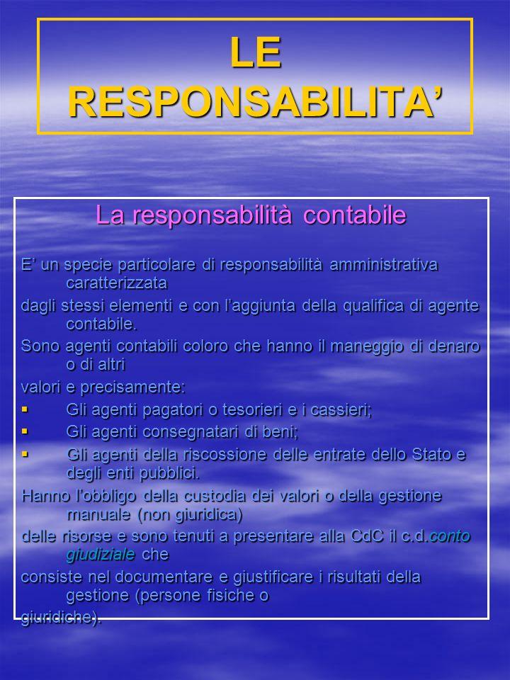 LE RESPONSABILITA La responsabilità contabile E un specie particolare di responsabilità amministrativa caratterizzata dagli stessi elementi e con laggiunta della qualifica di agente contabile.