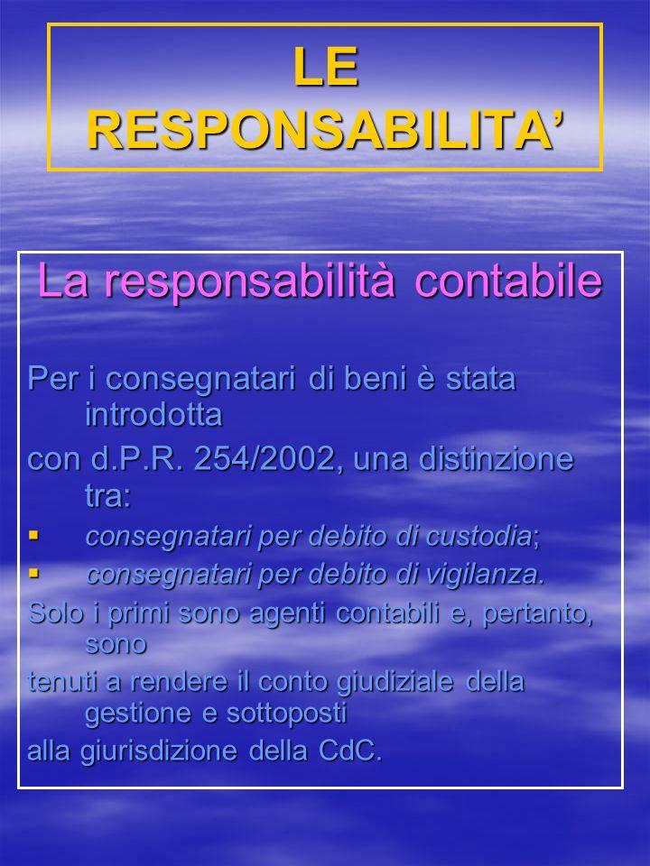 LE RESPONSABILITA La responsabilità contabile Per i consegnatari di beni è stata introdotta con d.P.R.