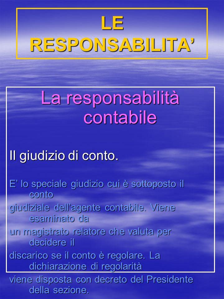 LE RESPONSABILITA La responsabilità contabile Il giudizio di conto.