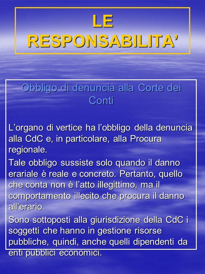 LE RESPONSABILITA Obbligo di denuncia alla Corte dei Conti Lorgano di vertice ha lobbligo della denuncia alla CdC e, in particolare, alla Procura regionale.
