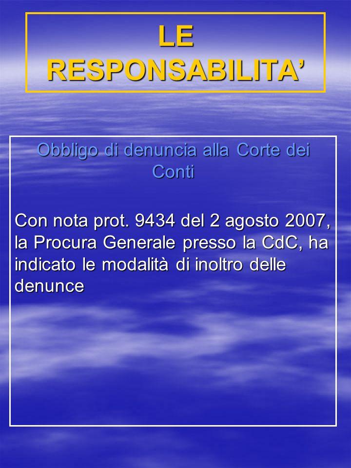 LE RESPONSABILITA Obbligo di denuncia alla Corte dei Conti Con nota prot.