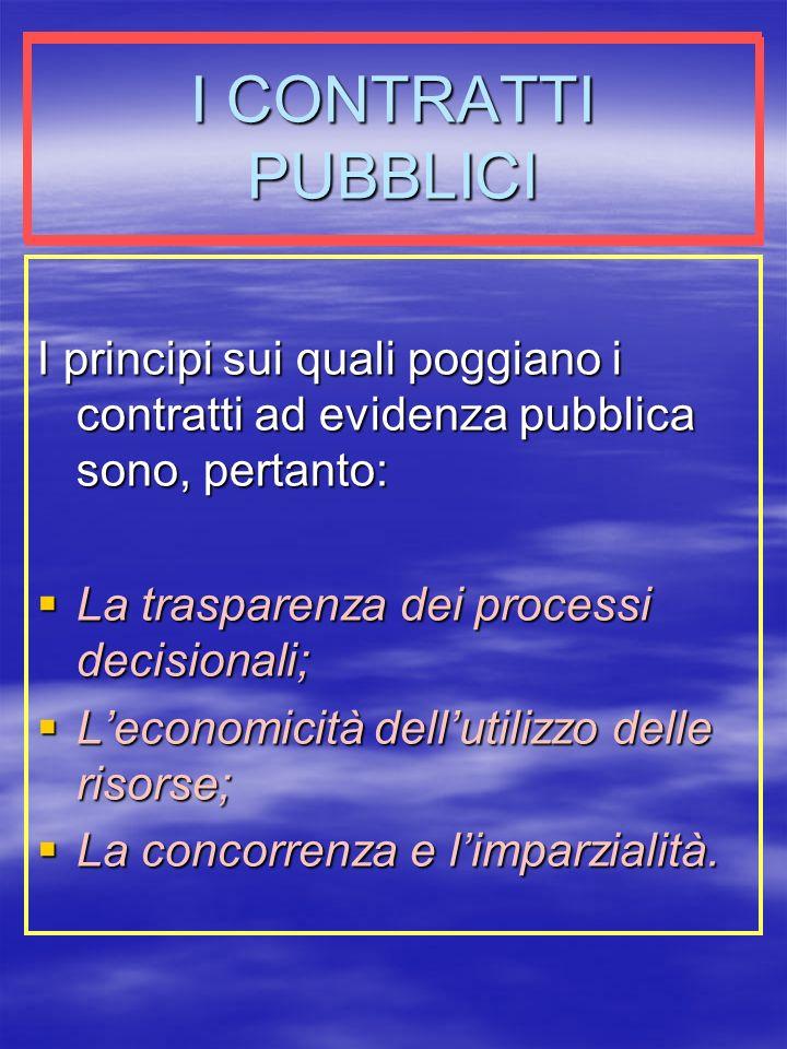 I CONTRATTI PUBBLICI I principi sui quali poggiano i contratti ad evidenza pubblica sono, pertanto: La trasparenza dei processi decisionali; La trasparenza dei processi decisionali; Leconomicità dellutilizzo delle risorse; Leconomicità dellutilizzo delle risorse; La concorrenza e limparzialità.