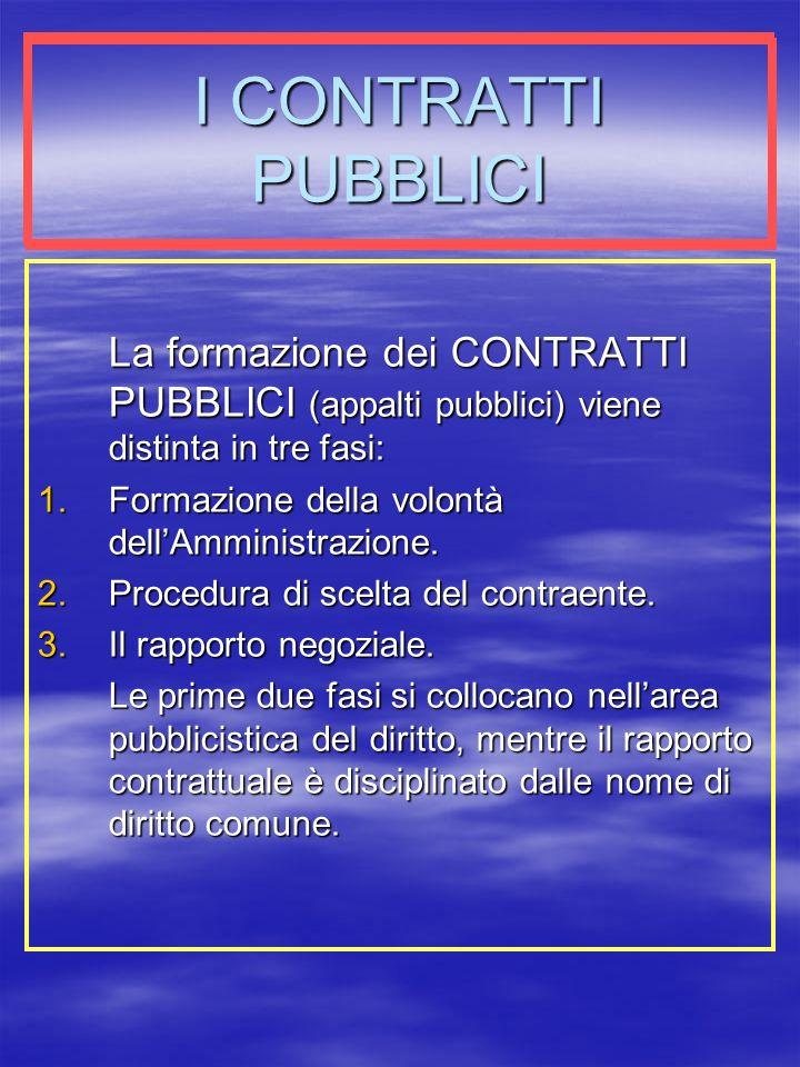 I CONTRATTI PUBBLICI La formazione dei CONTRATTI PUBBLICI (appalti pubblici) viene distinta in tre fasi: 1.Formazione della volontà dellAmministrazione.
