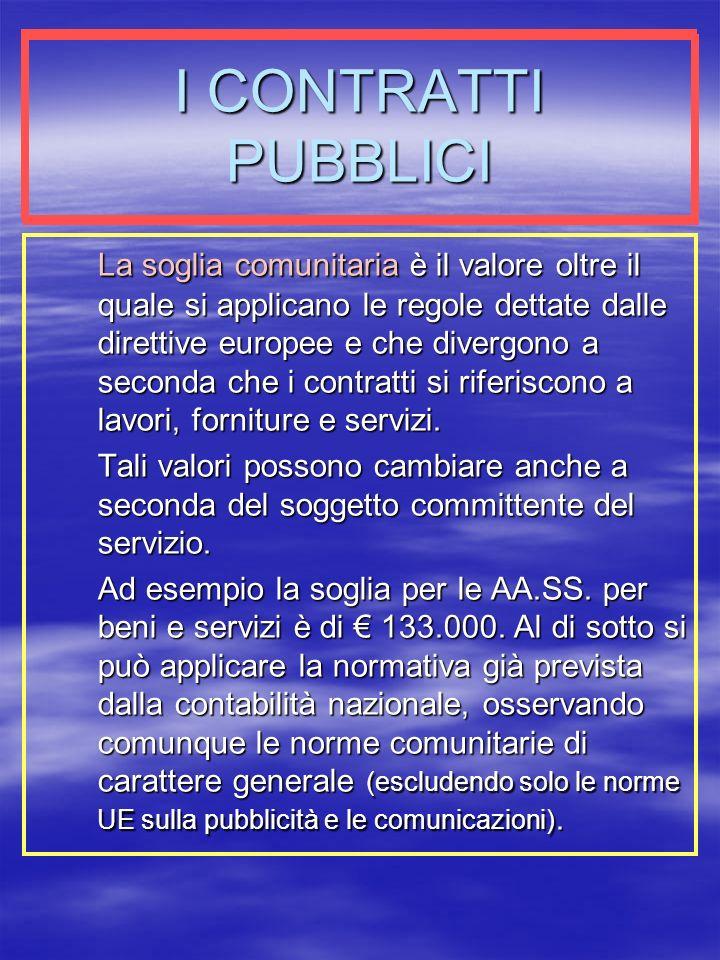 I CONTRATTI PUBBLICI La soglia comunitaria è il valore oltre il quale si applicano le regole dettate dalle direttive europee e che divergono a seconda che i contratti si riferiscono a lavori, forniture e servizi.
