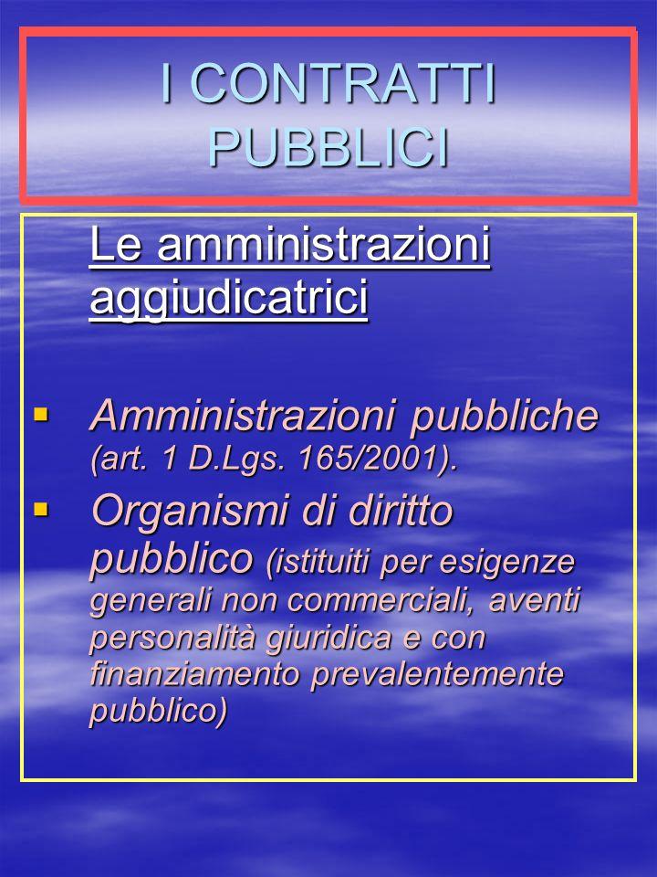 I CONTRATTI PUBBLICI Le amministrazioni aggiudicatrici Amministrazioni pubbliche (art.