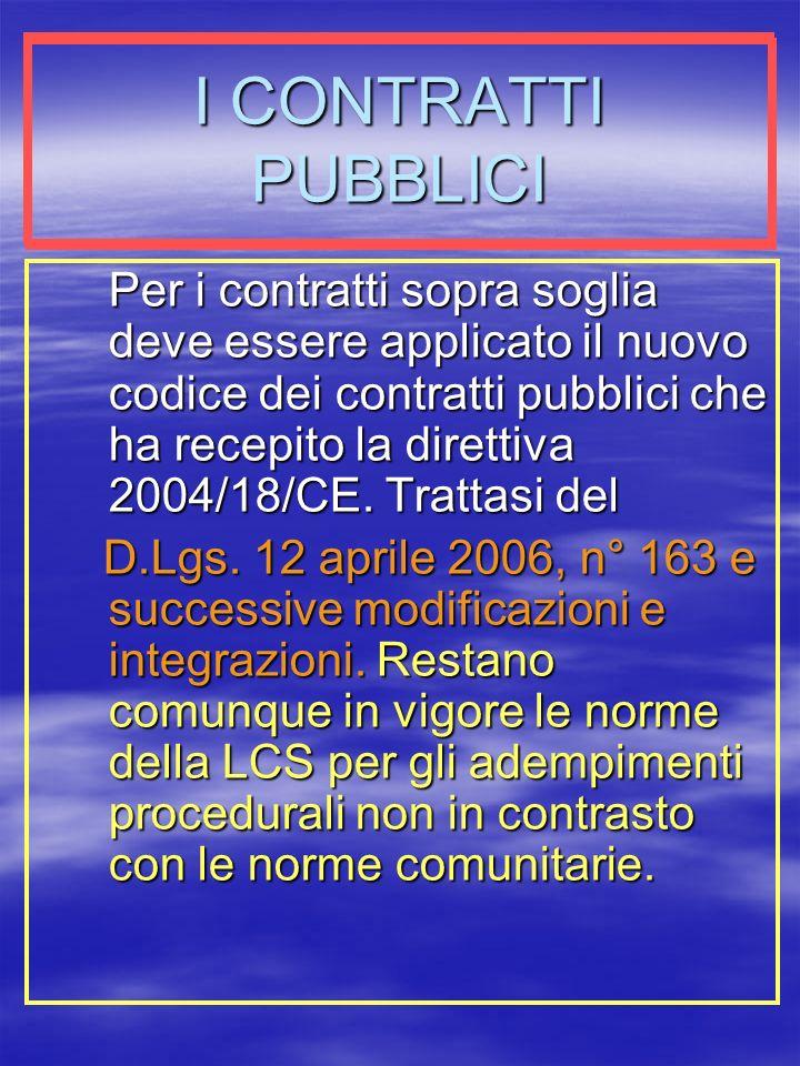 I CONTRATTI PUBBLICI Per i contratti sopra soglia deve essere applicato il nuovo codice dei contratti pubblici che ha recepito la direttiva 2004/18/CE.
