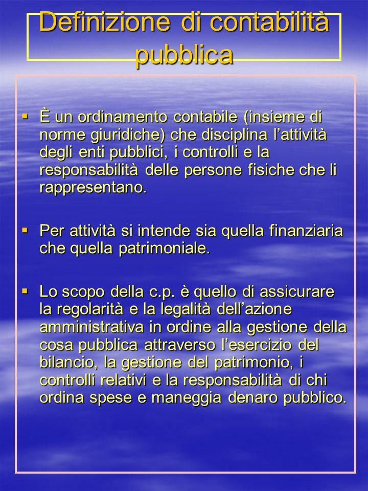 Definizione di contabilità pubblica È un ordinamento contabile (insieme di norme giuridiche) che disciplina lattività degli enti pubblici, i controlli e la responsabilità delle persone fisiche che li rappresentano.