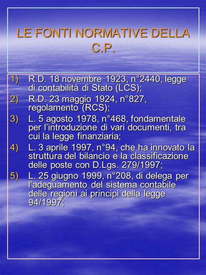 LE FONTI NORMATIVE DELLA C.P.1)R.D.