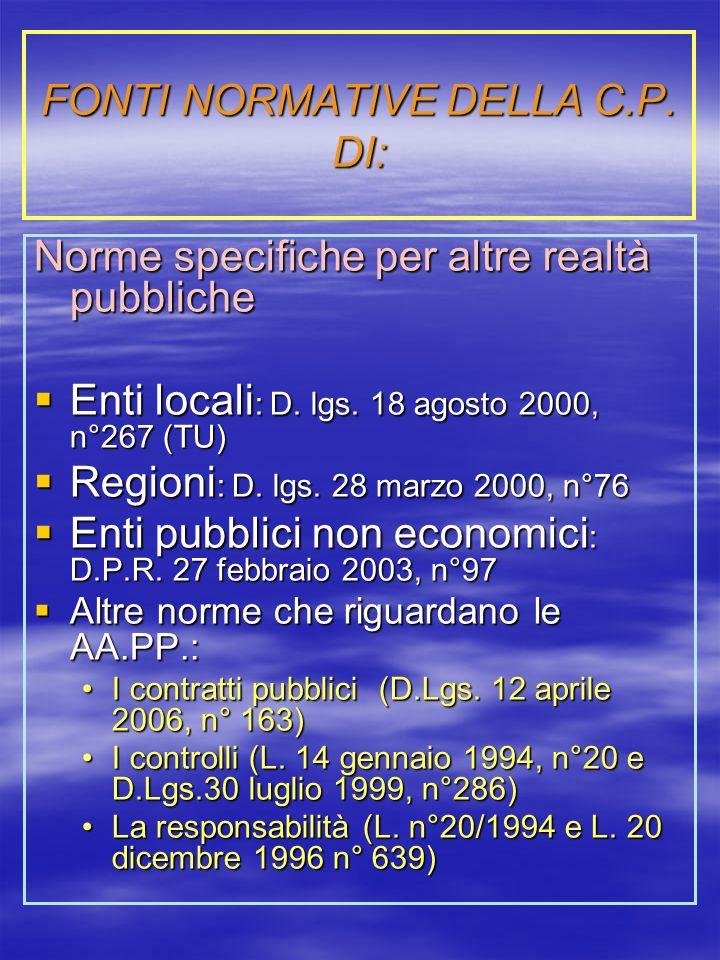 FONTI NORMATIVE DELLA C.P.DI: Norme specifiche per altre realtà pubbliche Enti locali : D.
