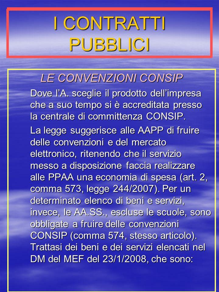 I CONTRATTI PUBBLICI LE CONVENZIONI CONSIP Dove lA.