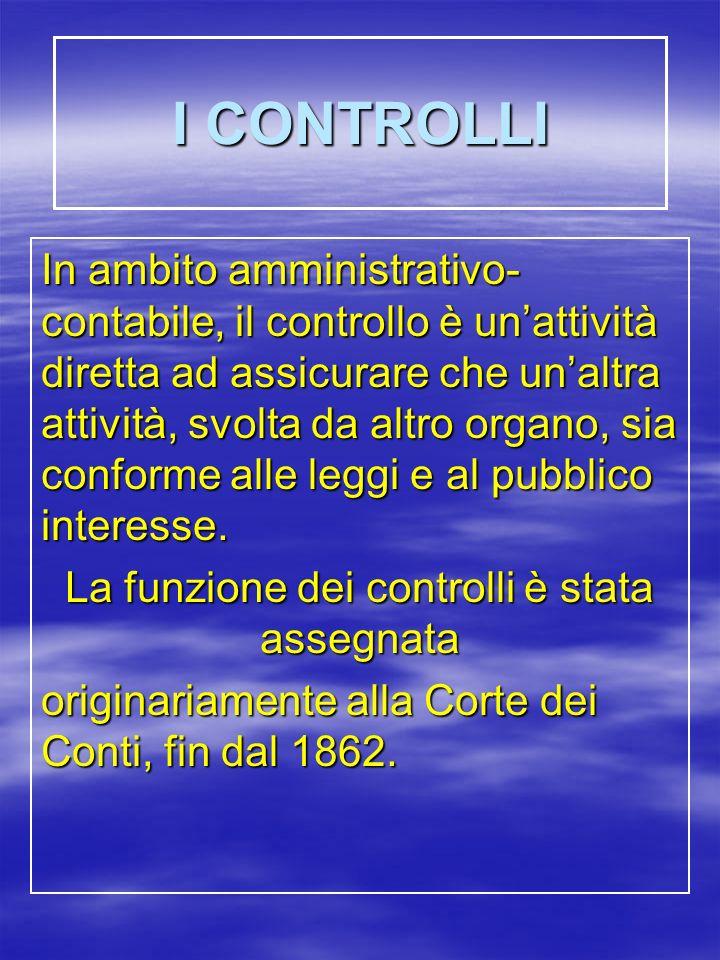 I CONTROLLI In ambito amministrativo- contabile, il controllo è unattività diretta ad assicurare che unaltra attività, svolta da altro organo, sia conforme alle leggi e al pubblico interesse.