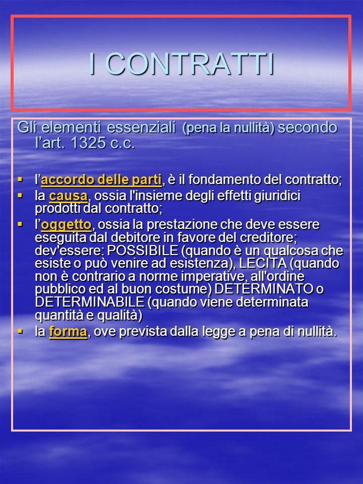 I CONTRATTI Gli elementi essenziali (pena la nullità) secondo lart.