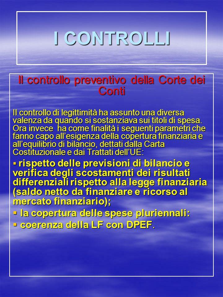 I CONTROLLI Il controllo preventivo della Corte dei Conti Il controllo di legittimità ha assunto una diversa valenza da quando si sostanziava sui titoli di spesa.