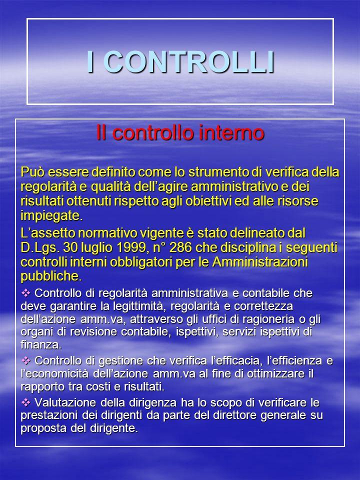 I CONTROLLI Il controllo interno Può essere definito come lo strumento di verifica della regolarità e qualità dellagire amministrativo e dei risultati ottenuti rispetto agli obiettivi ed alle risorse impiegate.