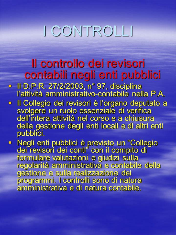 I CONTROLLI Il controllo dei revisori contabili negli enti pubblici Il D.P.R.