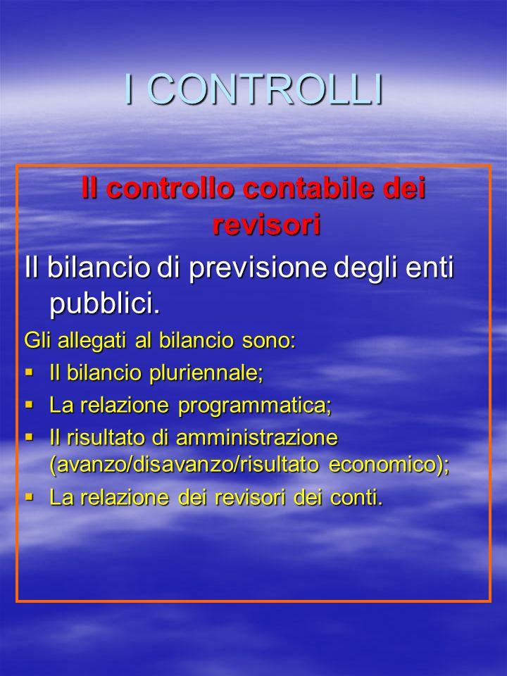 I CONTROLLI Il controllo contabile dei revisori Il bilancio di previsione degli enti pubblici.
