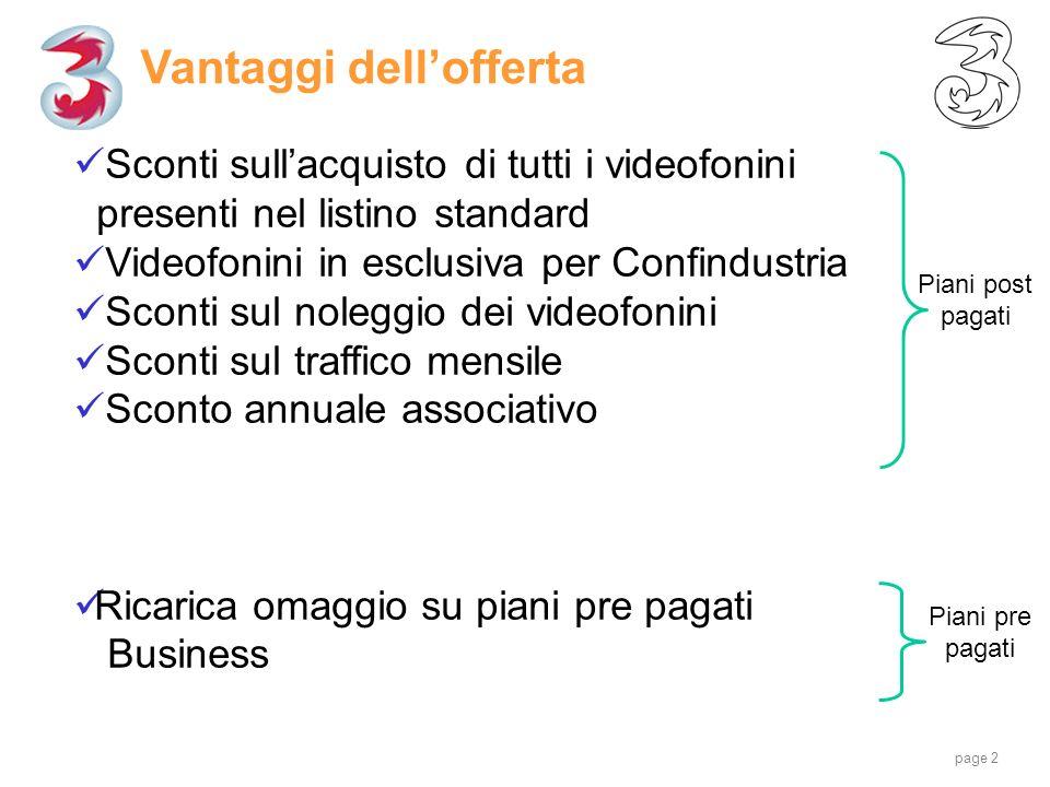 page 2 Vantaggi dellofferta Piani post pagati Sconti sullacquisto di tutti i videofonini presenti nel listino standard Videofonini in esclusiva per Co