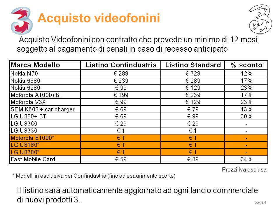 page 4 Acquisto videofonini Acquisto Videofonini con contratto che prevede un minimo di 12 mesi soggetto al pagamento di penali in caso di recesso ant