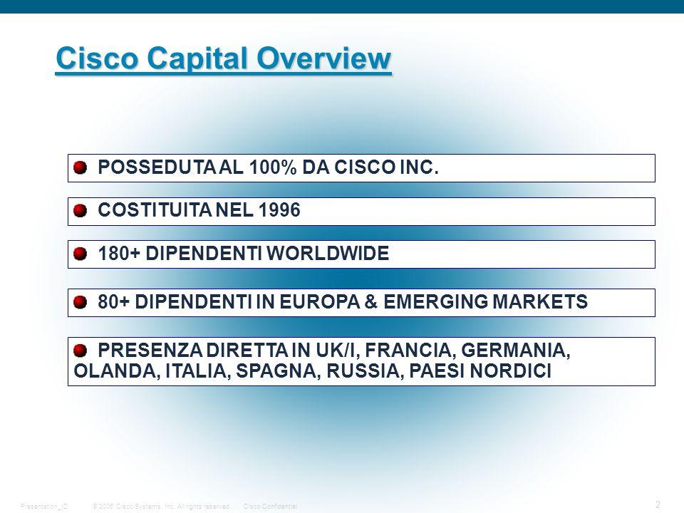 © 2006 Cisco Systems, Inc. All rights reserved.Cisco ConfidentialPresentation_ID 2 Cisco Capital Overview POSSEDUTA AL 100% DA CISCO INC. COSTITUITA N