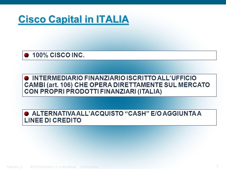© 2006 Cisco Systems, Inc. All rights reserved.Cisco ConfidentialPresentation_ID 3 Cisco Capital in ITALIA 100% CISCO INC. ALTERNATIVA ALLACQUISTO CAS