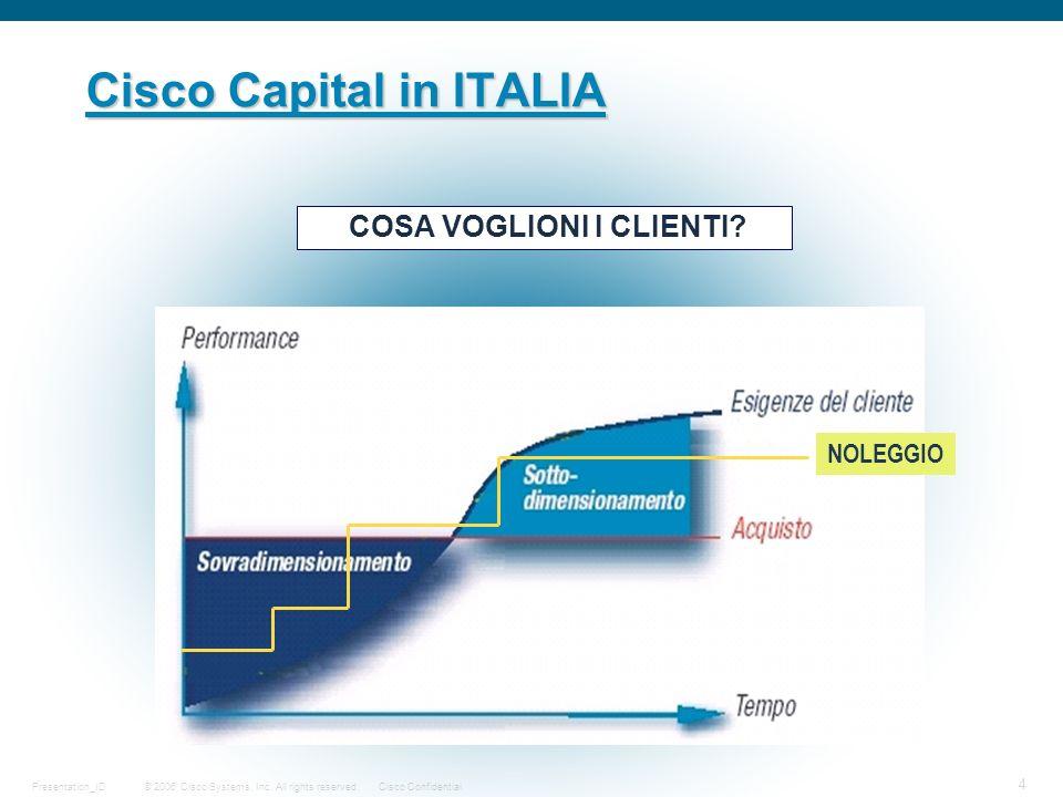 © 2006 Cisco Systems, Inc. All rights reserved.Cisco ConfidentialPresentation_ID 4 Cisco Capital in ITALIA COSA VOGLIONI I CLIENTI? NOLEGGIO