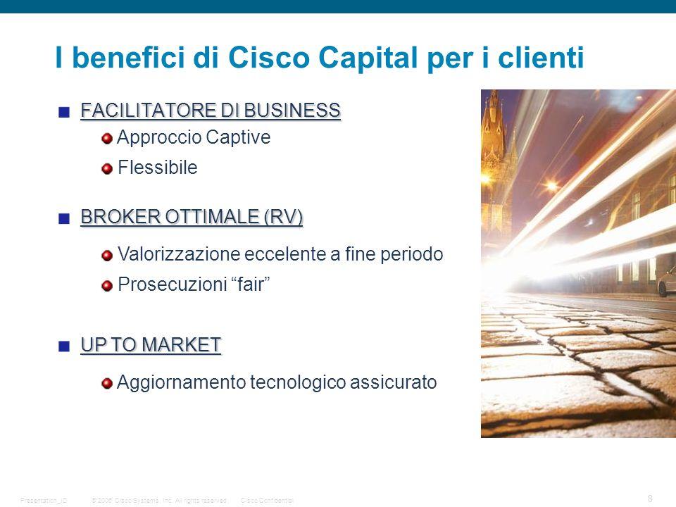 © 2006 Cisco Systems, Inc. All rights reserved.Cisco ConfidentialPresentation_ID 8 FACILITATORE DI BUSINESS I benefici di Cisco Capital per i clienti
