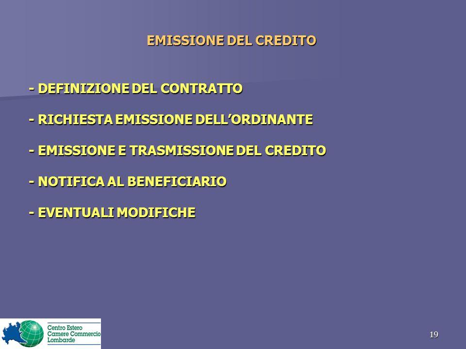 19 EMISSIONE DEL CREDITO - DEFINIZIONE DEL CONTRATTO - RICHIESTA EMISSIONE DELLORDINANTE - EMISSIONE E TRASMISSIONE DEL CREDITO - NOTIFICA AL BENEFICIARIO - EVENTUALI MODIFICHE
