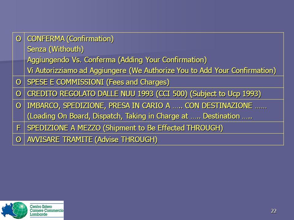 22 O CONFERMA (Confirmation) Senza (Withouth) Aggiungendo Vs.