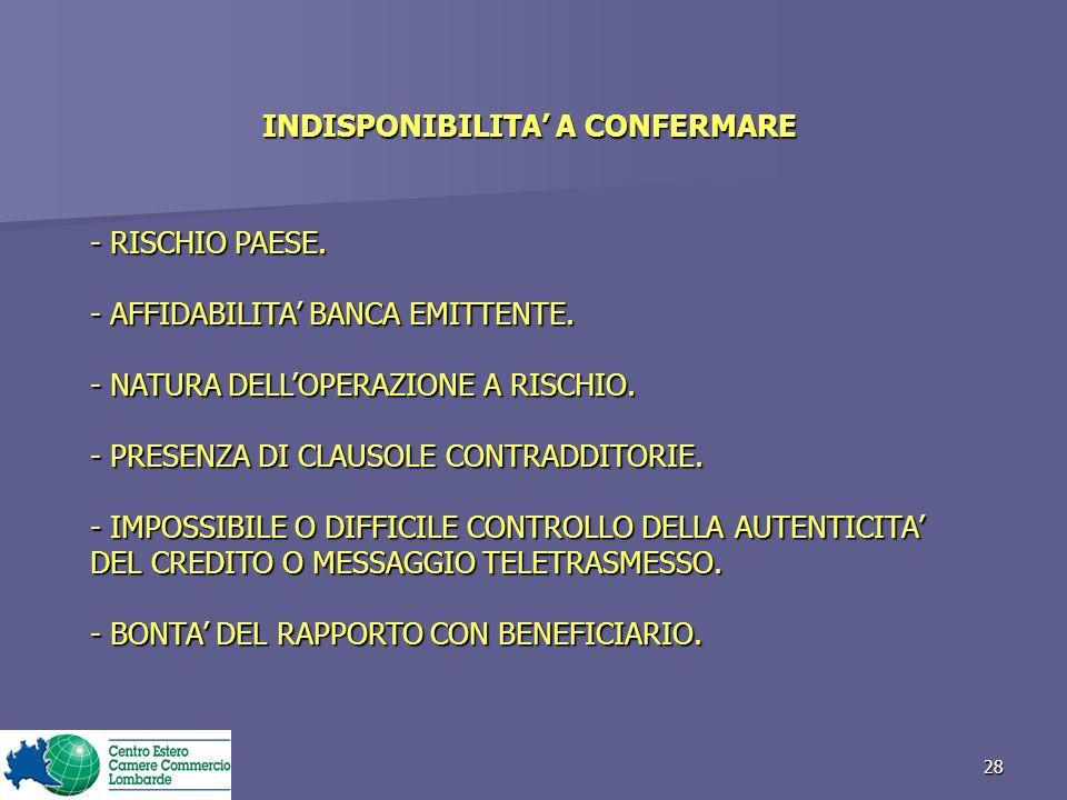 28 INDISPONIBILITA A CONFERMARE - RISCHIO PAESE.- AFFIDABILITA BANCA EMITTENTE.