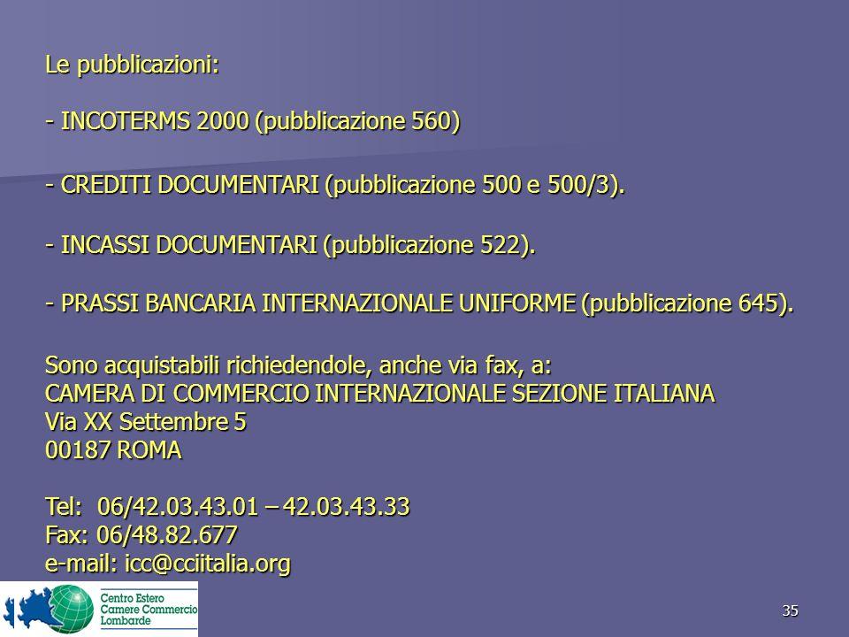 35 - CREDITI DOCUMENTARI (pubblicazione 500 e 500/3).