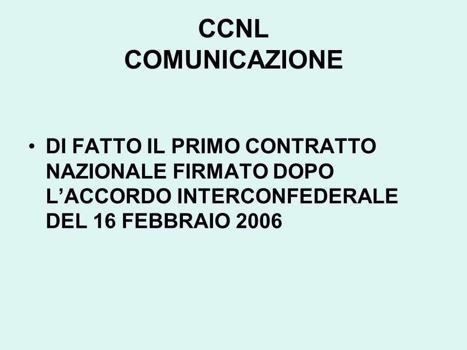 CCNL COMUNICAZIONE DI FATTO IL PRIMO CONTRATTO NAZIONALE FIRMATO DOPO LACCORDO INTERCONFEDERALE DEL 16 FEBBRAIO 2006