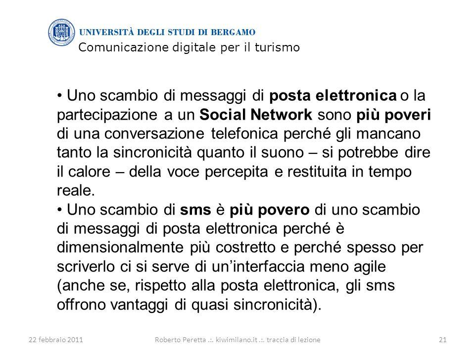 Comunicazione digitale per il turismo 22 febbraio 201121Roberto Peretta.:.
