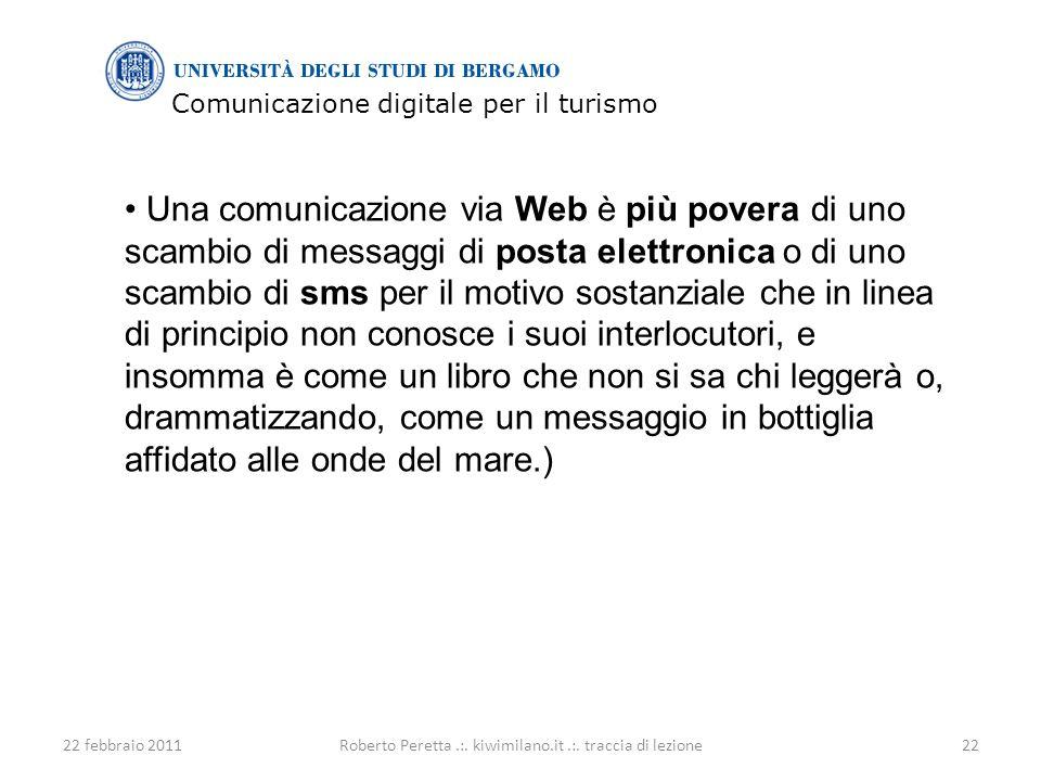 Comunicazione digitale per il turismo 22 febbraio 201122Roberto Peretta.:.