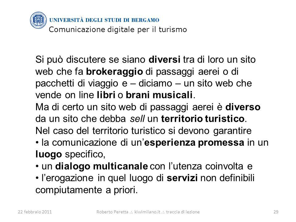 Comunicazione digitale per il turismo 22 febbraio 201129Roberto Peretta.:.