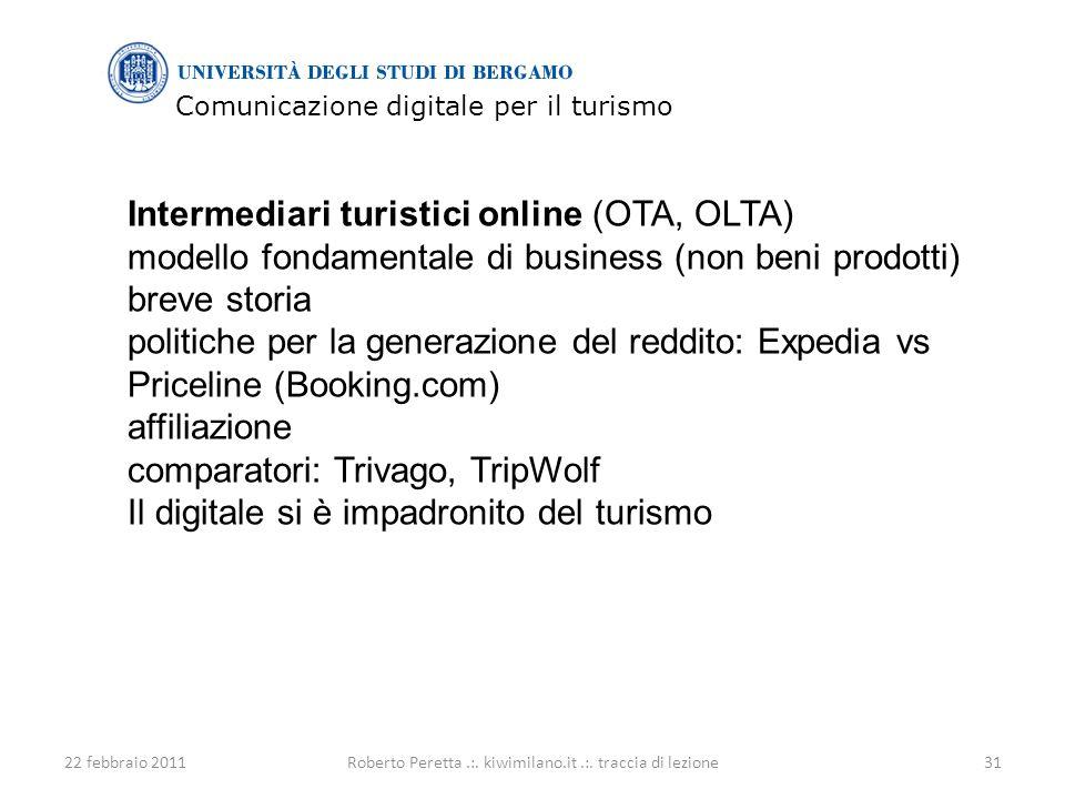 Comunicazione digitale per il turismo 22 febbraio 201131Roberto Peretta.:.