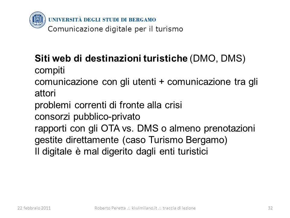 Comunicazione digitale per il turismo 22 febbraio 201132Roberto Peretta.:.