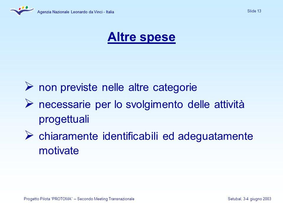 Agenzia Nazionale Leonardo da Vinci - Italia Slide 13 Agenzia Nazionale Leonardo da Vinci - Italia Progetto Pilota PROTOMA – Secondo Meeting Transnazi