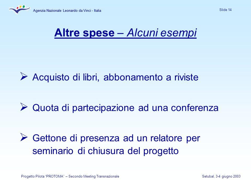 Agenzia Nazionale Leonardo da Vinci - Italia Slide 14 Agenzia Nazionale Leonardo da Vinci - Italia Progetto Pilota PROTOMA – Secondo Meeting Transnazi