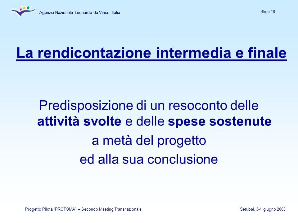 Agenzia Nazionale Leonardo da Vinci - Italia Slide 18 Agenzia Nazionale Leonardo da Vinci - Italia Progetto Pilota PROTOMA – Secondo Meeting Transnazi