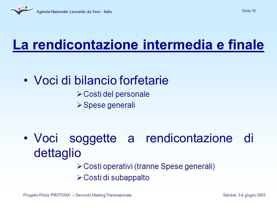 Agenzia Nazionale Leonardo da Vinci - Italia Slide 19 Agenzia Nazionale Leonardo da Vinci - Italia Progetto Pilota PROTOMA – Secondo Meeting Transnazi