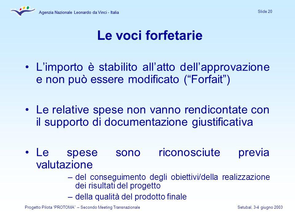Agenzia Nazionale Leonardo da Vinci - Italia Slide 20 Agenzia Nazionale Leonardo da Vinci - Italia Progetto Pilota PROTOMA – Secondo Meeting Transnazi